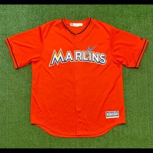 MLB. Miami Marlins Orange Majestic baseball Jersey